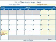 Print Friendly July 2017 Greece Calendar for printing