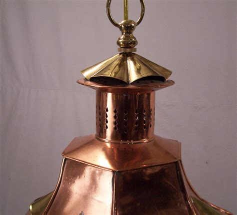 8110 vintage handmade copper hanging light fixture for