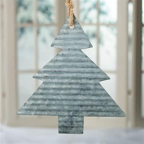 corrugated galvanized metal christmas tree ornament