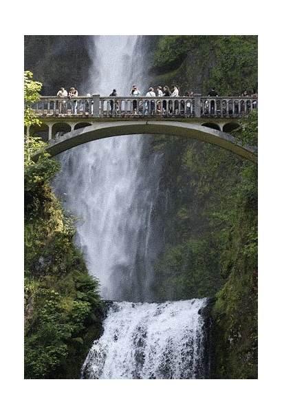 Falls Multnomah Nature Gifs Waterfalls Water Bridge