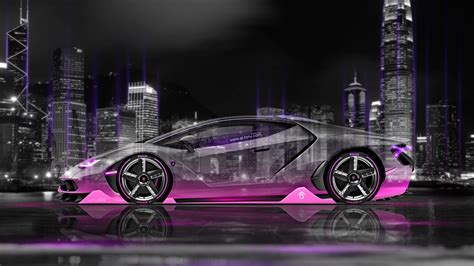Lamborghini Centenario Side Crystal City Night Car 2016