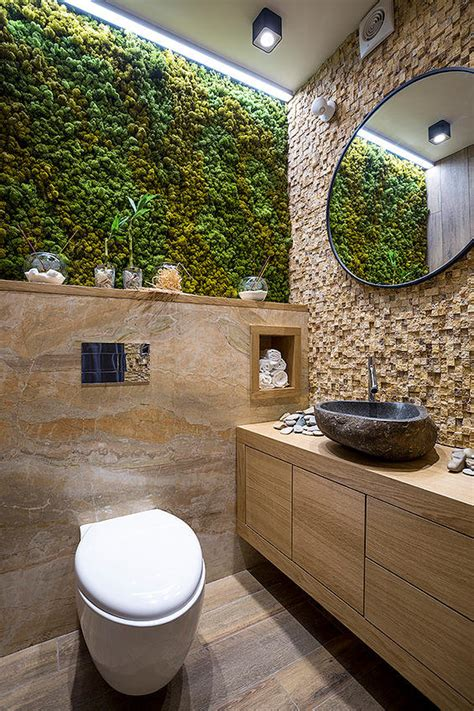 bathroom ecodesign with small vertical gardens