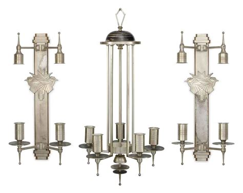 an deco silvered metal chandelier and four matching