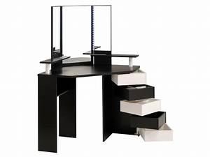 Coiffeuse d'angle MARILYN Miroir et rangements Blanc noir