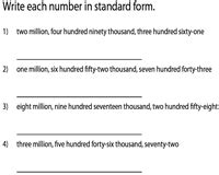 large numbers  words worksheets millions
