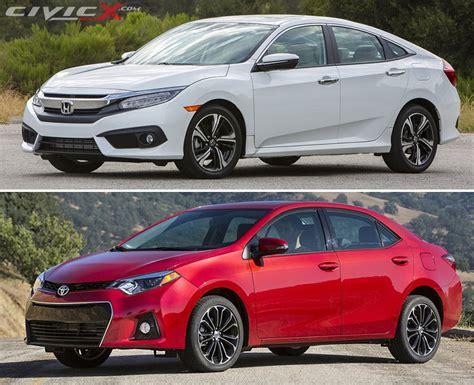 Toyota Vs Honda by 2016 Honda Civic Vs Toyota Corolla Comparison 2016