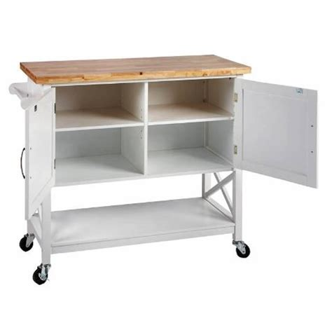 kitchen island trolley cart white  door solid wood