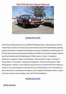 Fiat X19 Service Repair Manual By Judithhennessey