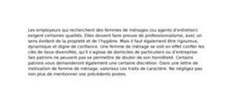 lettre de motivation femme de m 233 nage