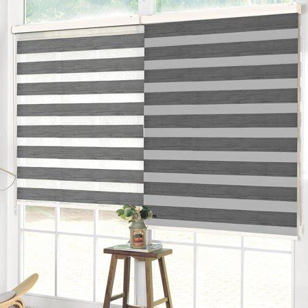 luxe zebra roller blind sheer double layered horizontal