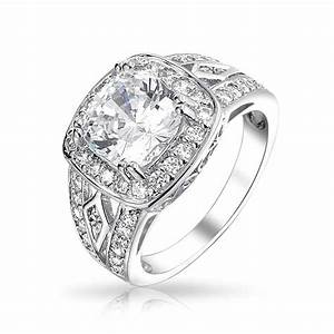 sterling silver 4k cz vintage engagement ring With vintage cz wedding rings