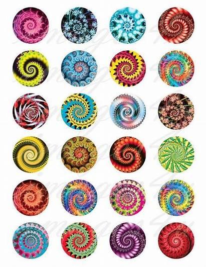 Collage Bottle Cap Sheet Fractals Digital Circles
