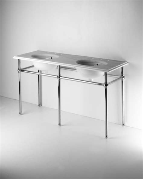 Metal Round Five Leg Double Washstand With Marble Top