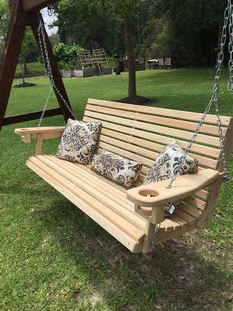 ft handmade cypress porch swing  cupholders custom