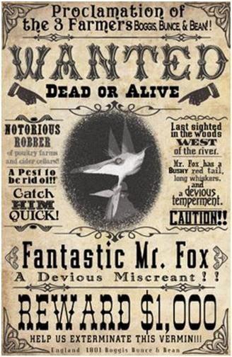 wanted poster fantastic  fox fantastic  fox