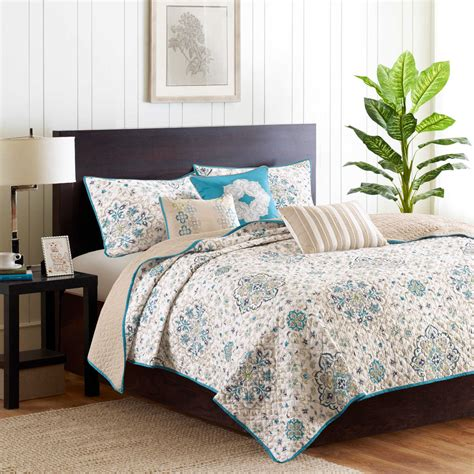 Blue Coverlets For Beds by Cal King Bed Beige Teal Blue Medallion 6pc