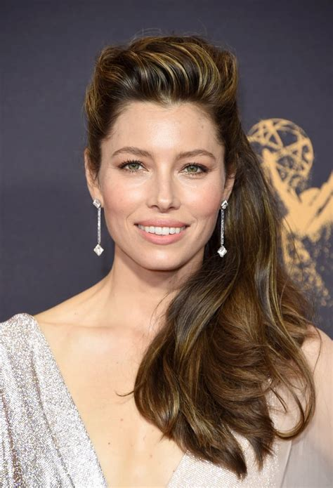 jessica biel hair and makeup at the emmys 2017 popsugar