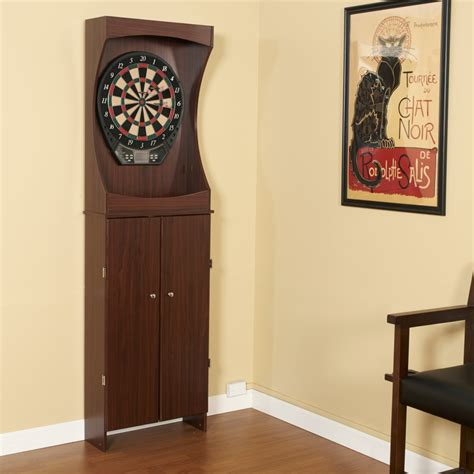 ideal premium wood cabinet 15 game set outlaw free standing dartboard cabinet set cherry