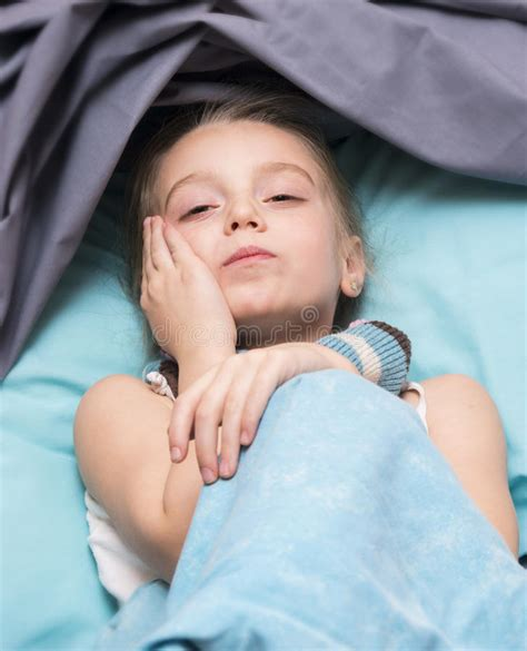 Little Girl Child Have Toothache Toothache Stock Photo