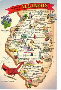 Greetings from Illinois State Map Postcard State Symbols