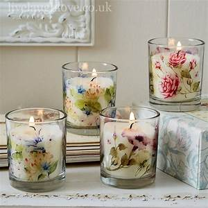 Country, Blossom, Wax, Filled, Fragrant, Candles, In, Glass