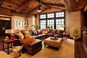 1001 conseils et idees pour amenager un salon rustique With tapis de course avec canapé rustique bois tissus