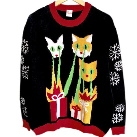 laser cats tacky ugly christmas sweater the ugly sweater
