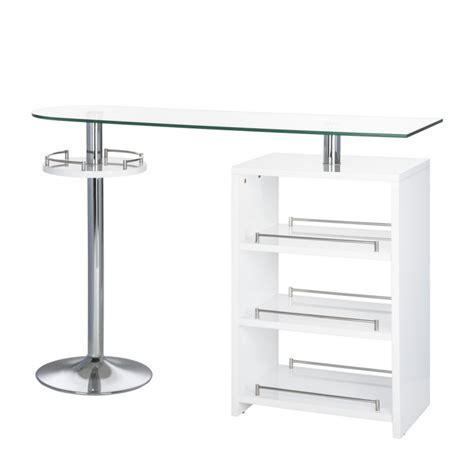 bartisch mit stühlen bartisch mit glasplatte ablage mdf wei 223 chrom glas stehtisch bistro tisch neu ebay
