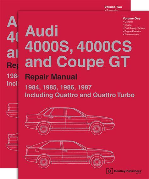 1984 1985 audi 5000s bentley repair shop manual front cover audi repair manual audi 4000s 4000cs and coupe gt 1984 1987 bentley