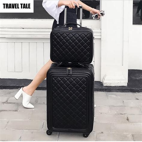 travel tale  women spinner leather retro trolley bag  travel suitcase hand luggage set
