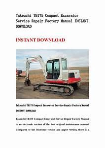 Takeuchi Tb175 Compact Excavator Service Repair Factory