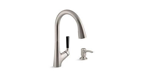 kohler malleco pull down kitchen sink faucet with soap dispenser k r562 sd malleco pull down kitchen sink faucet with