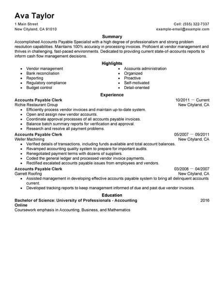 Accounts Payable Clerk Resume by Best Accounts Payable Specialist Resume Exle Livecareer