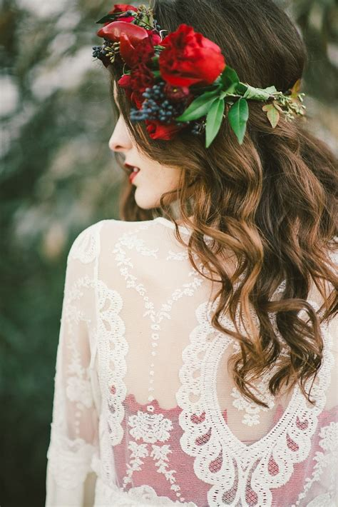 Bridal hair Peppers in floral crown Red inspiration