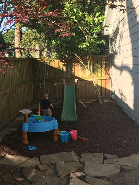 How To Grow Grass In Backyard by Backyard Play Space For Used Rubber Mulch About 10