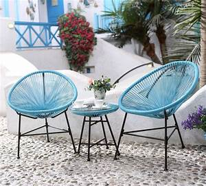 Salon De Jardin Acapulco : ensemble de 2 fauteuils uf table basse bleu acapulco ~ Teatrodelosmanantiales.com Idées de Décoration
