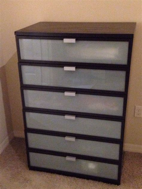 Ikea Hopen 6 drawers chest, black brown, frosted glass
