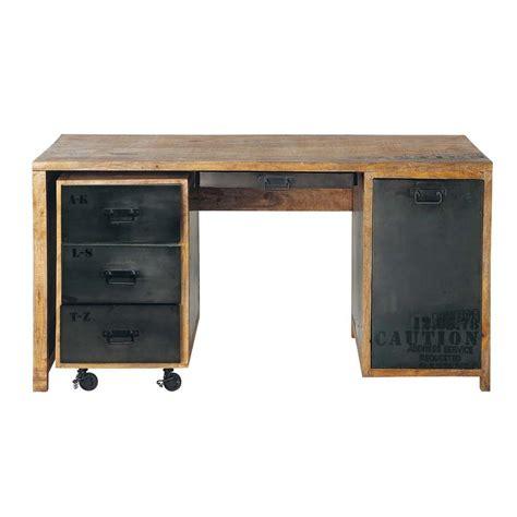 bureau metal et bois bureau en manguier massif et métal l 150 cm manufacture
