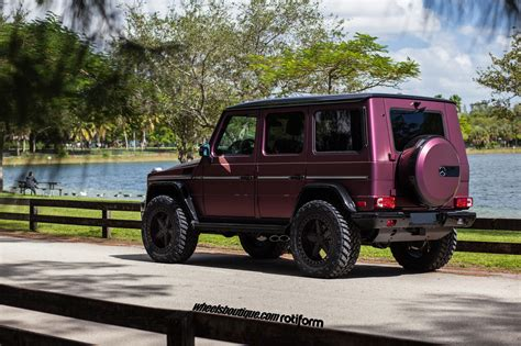 lifted mercedes sedan lifted purple people eater g63 amg on rotiform pnt