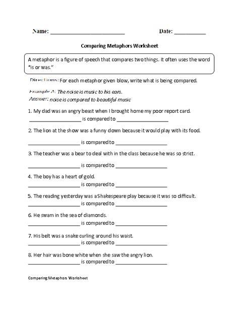 comparing metaphors worksheet 6th grade ela