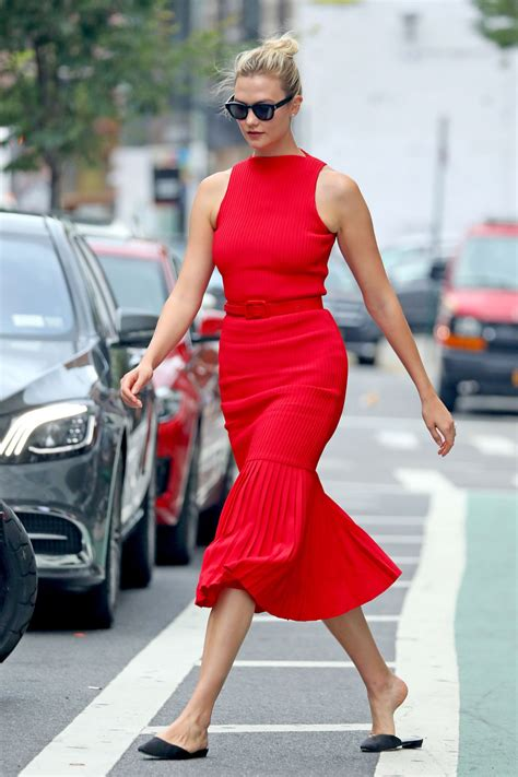Karlie Kloss Red Body Con Midi Dress Nyc