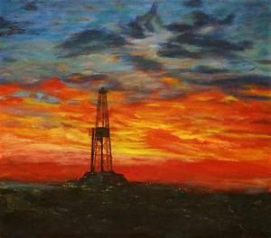 Sunrise Rig Painting by Karen Peterson