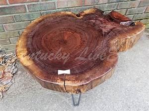 custom live edge coffee table round table tree slice With round log coffee table