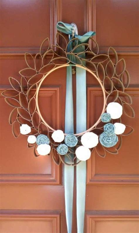 Tp flower wreath (use recycled cardboard as a wreath form instead of foam). 30 Homemade Toilet Paper Roll Art Ideas For Your Wall Decor   Architecture & Design