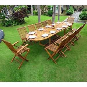 Salon De Jardin 12 Places : salon en teck huil xxl 12 places table 200 250 300 cm 28 jardin piscine ~ Teatrodelosmanantiales.com Idées de Décoration