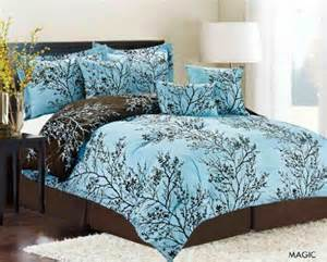 aqua and dark chocolate brown comforter set with very nice botanical print reversible for