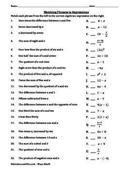 Matching Phrases To Algebraic Expressions Worksheet By Maya Khalil