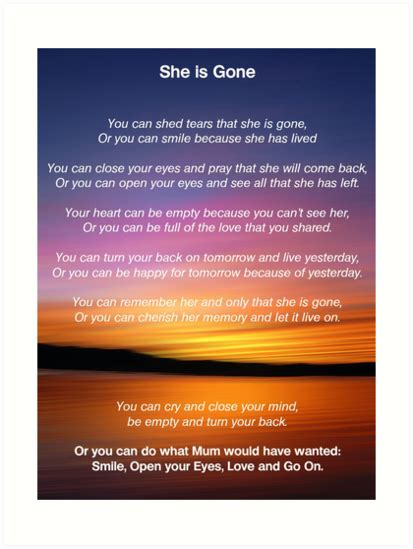 quot she is gone funeral poem for mum quot art prints by david alexander elder redbubble