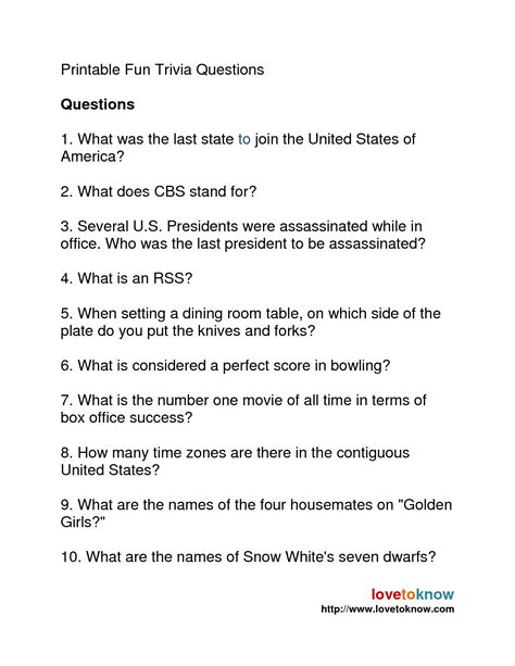 Pictures Fun Trivia Questions And Answers Printable