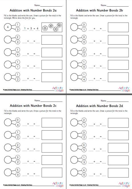 addition  number bonds worksheets set